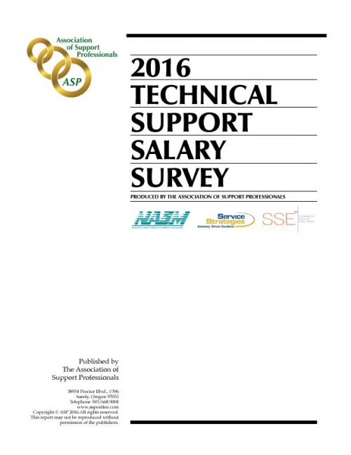 ASP's 2016 Technical Support Survey